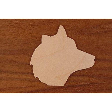 WOODNSHOP Wolf Head Wood 1/8 x 3 1/2 PKG 15 Laser Cut Wooden Wolf Head (Three Headed Wolf)