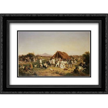 The Hunting Party of Ferdinand II of Naples 2x Matted 24x18 Black Ornate Framed Art Print by Palizzi, Filippo