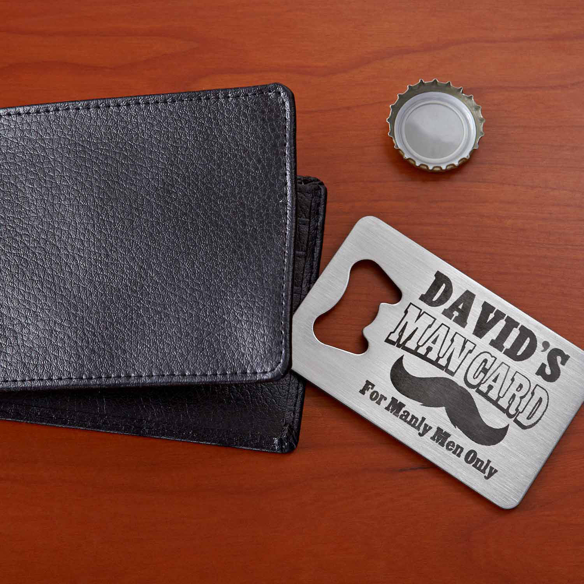 Personalized Man Card Wallet Bottle Opener