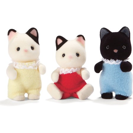 International Playthings Calico Critters Tuxedo Cat Triplets