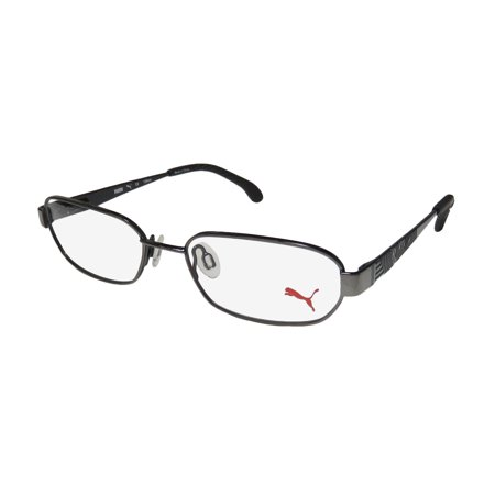 New Puma 15421 Mens/Womens Designer Full-Rim Shiny Dark Gray / Black Unique Design Must Have Stylish Frame Demo Lenses 52-17-135 Flexible Hinges Eyeglasses/Eye Glasses