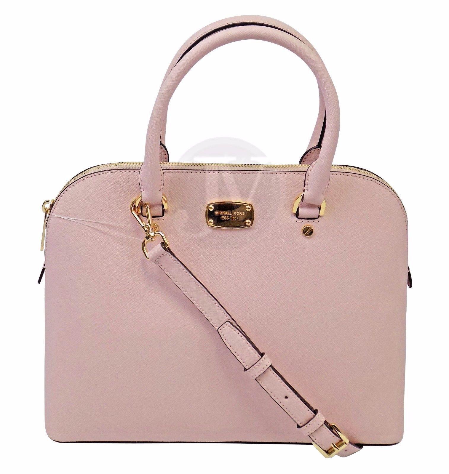 8dc761b00d ... best price new michael kors cindy large dome satchel blossom pink leather  bag crossbody 7c233 efe3d