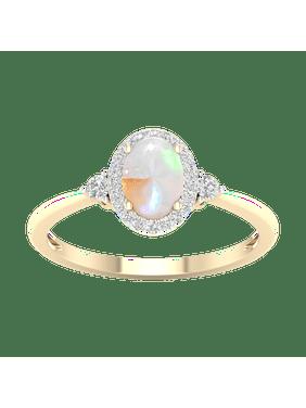 Imperial Gemstone 10K Yellow Gold Oval Cut Ethiopian Opal 1/6 CT TW Diamond Halo Women's Ring