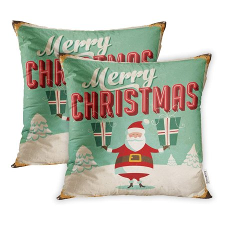ARHOME Vintage Metal Sign Merry Christmas Effects Can Be Easily Removed Pillow Case Pillow Cover 16x16 inch Set of 2