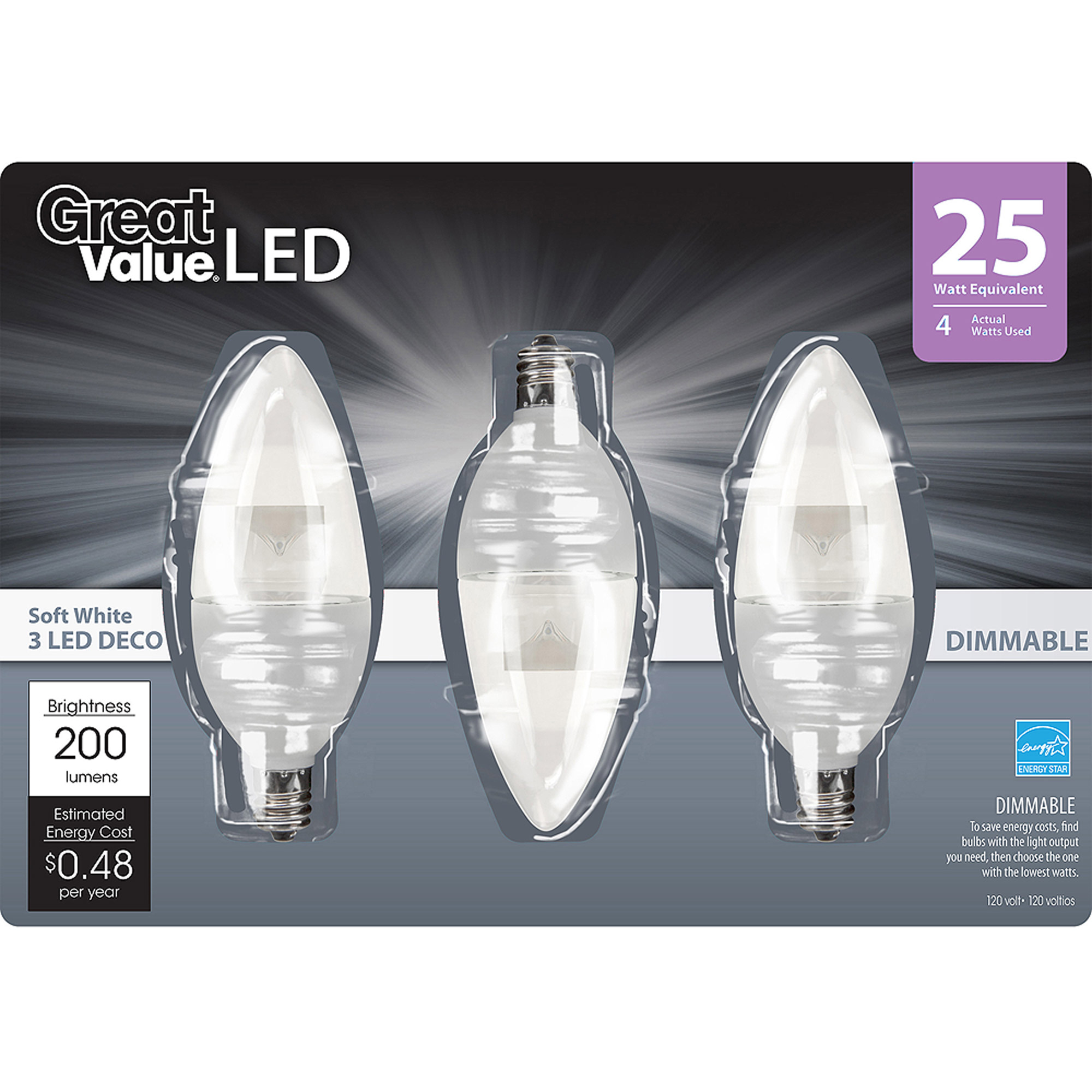 great value led light bulbs 4w 25w equivalent 4way decorative dimmable 3 pack walmartcom