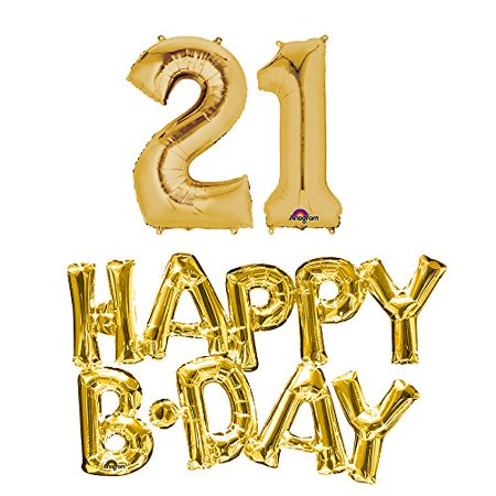 21st birthday party balloons supplies and decorations in gold](21st Party Decorations)