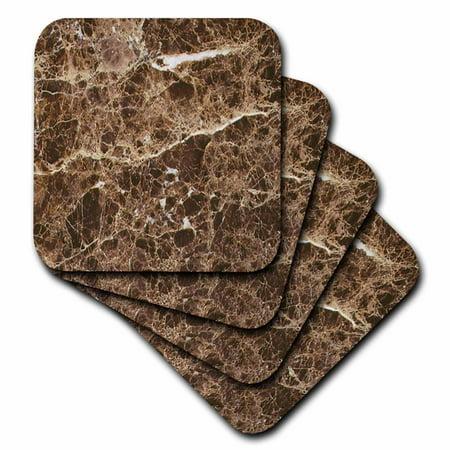 3dRose Emperador dark marble print, Ceramic Tile Coasters, set of 4 by