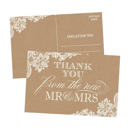 50 4x6 Rustic Kraft Thank You Postcards Bulk, Cute Blank Thank You Cards From The New Mr. and Mrs. Thank You Note Card Stationery Set For Wedding Gifts, Bridesmaid, Bridal Shower, Engagement Party