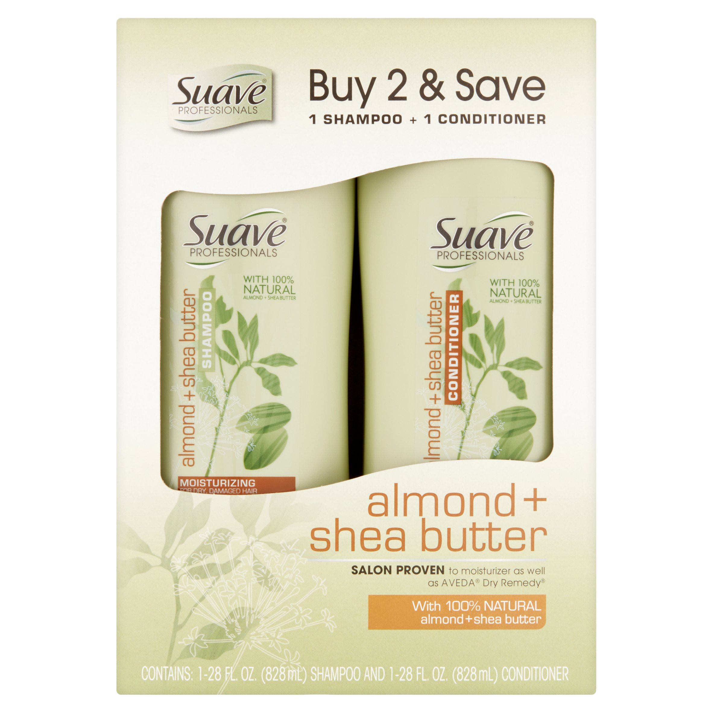 Suave 2-in-1 Shampoo & Conditioner, Almond and Shea Butter, 28 Oz, 2 Ct