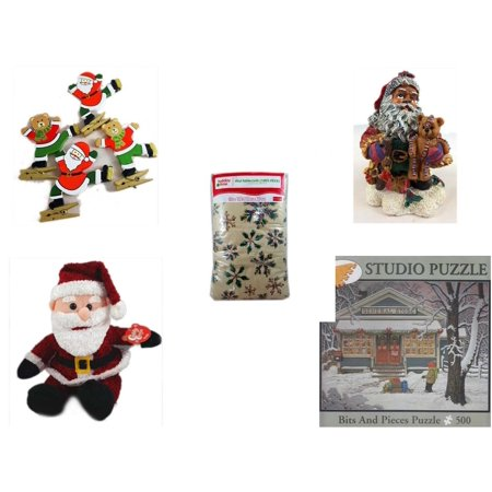 Christmas Fun Gift Bundle [5 Piece] - Set of 4 Wooden Clothes Pin Ornaments - K's Collection African-American Santa 5