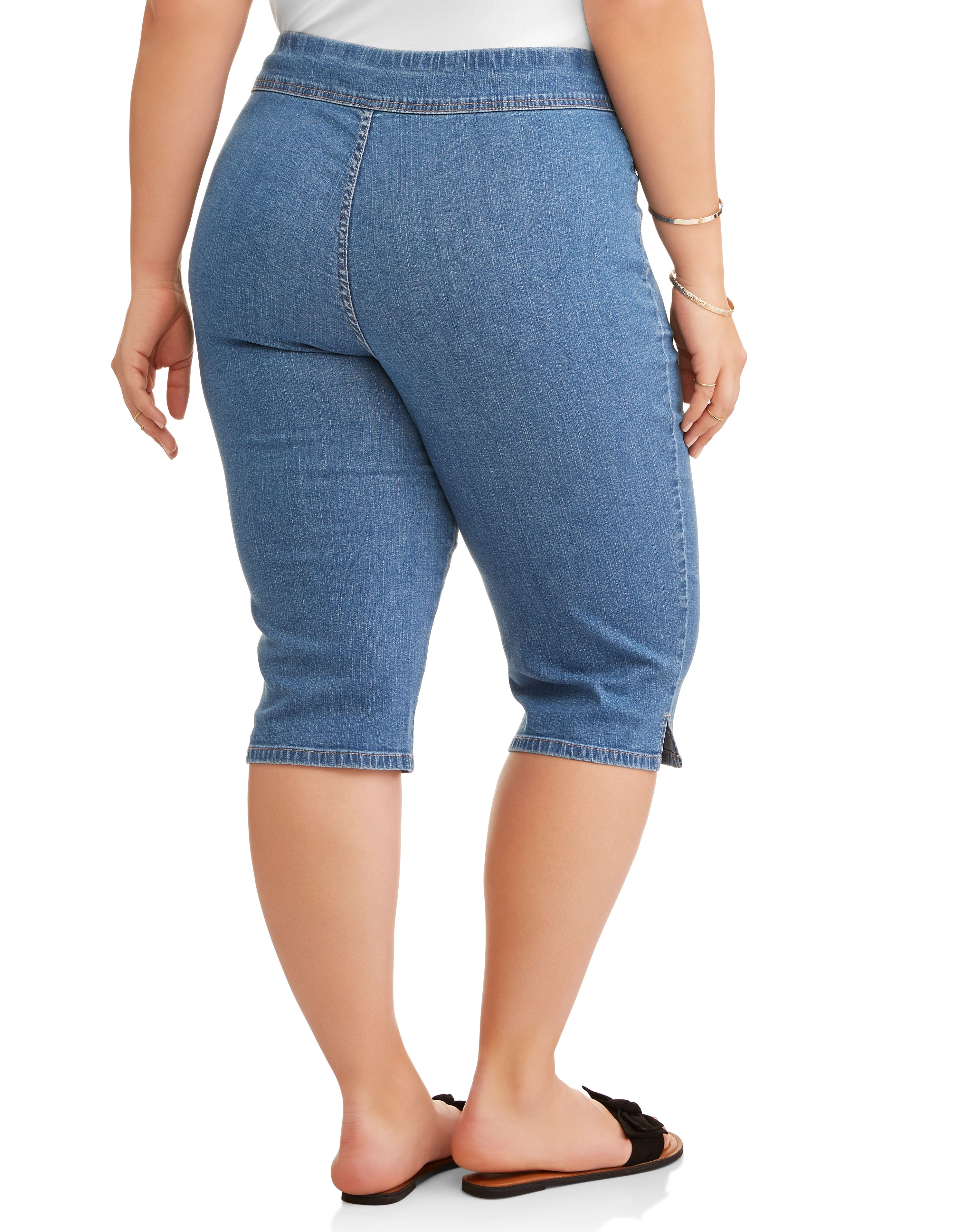 00377ba5a1400 Terra   Sky - Women s Plus 2-Pocket Pull-On Capri - Walmart.com