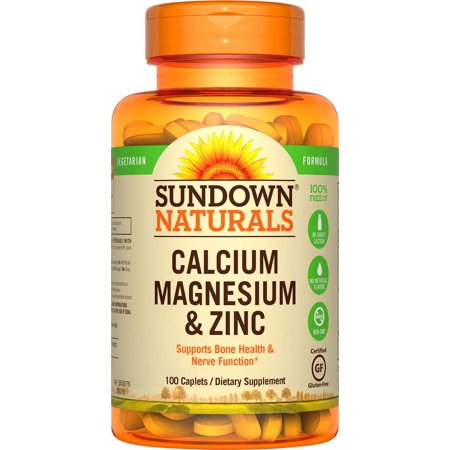 (2 pack) Sundown Naturals Calcium Magnesium Zinc Caplets, 100 CT ()