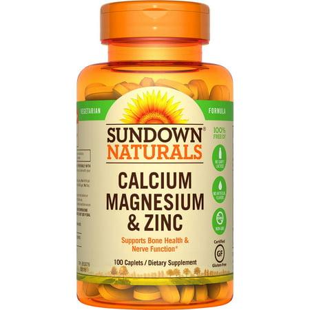 (2 pack) Sundown Naturals Calcium Magnesium Zinc Caplets, 100 CT