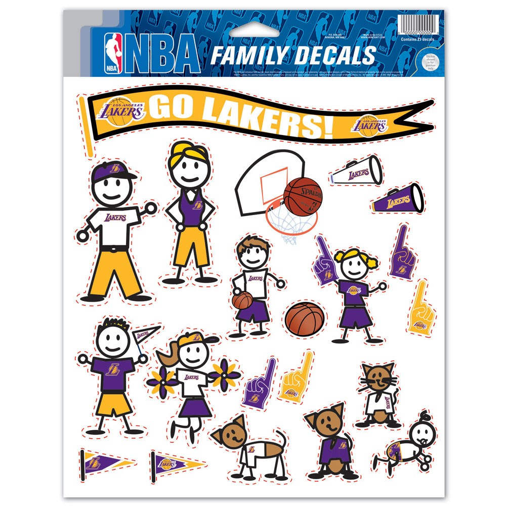Los Angeles Lakers Official NBA 8.5 inch  x 11 inch  Large Family Car Decal Sheet by WinCraft