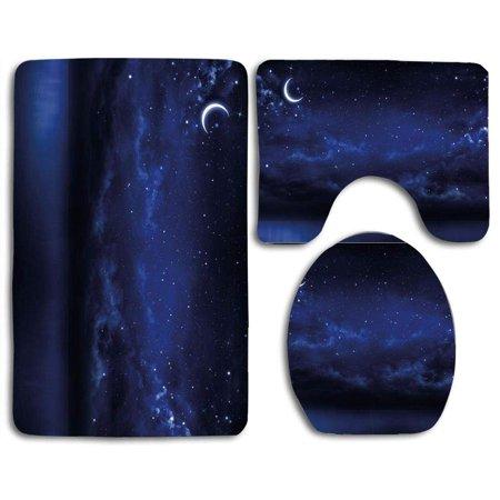 GOHAO Night Sky Starry Cartoon ky Lunar Moon Stars Clouds Sea Scenery 3 Piece Bathroom Rugs Set Bath Rug Contour Mat and Toilet Lid Cover