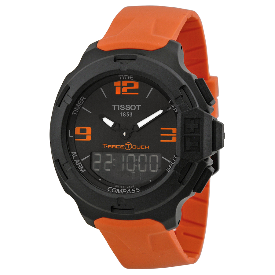 Tissot T-Race Touch Black Dial Orange Rubber Mens Watch T...
