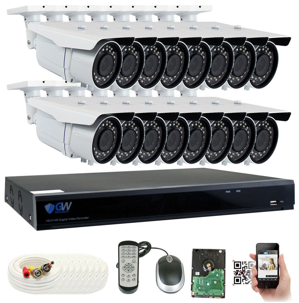 GW 16 Channel 5MP 1920P Complete Security Camera System w/ 16 5MP CCTV 2.8-12mm Varifocal Zoom Outdoor Cameras, 8CH 2TB DVR Surveillance Kit, up to 196ft Night Vision