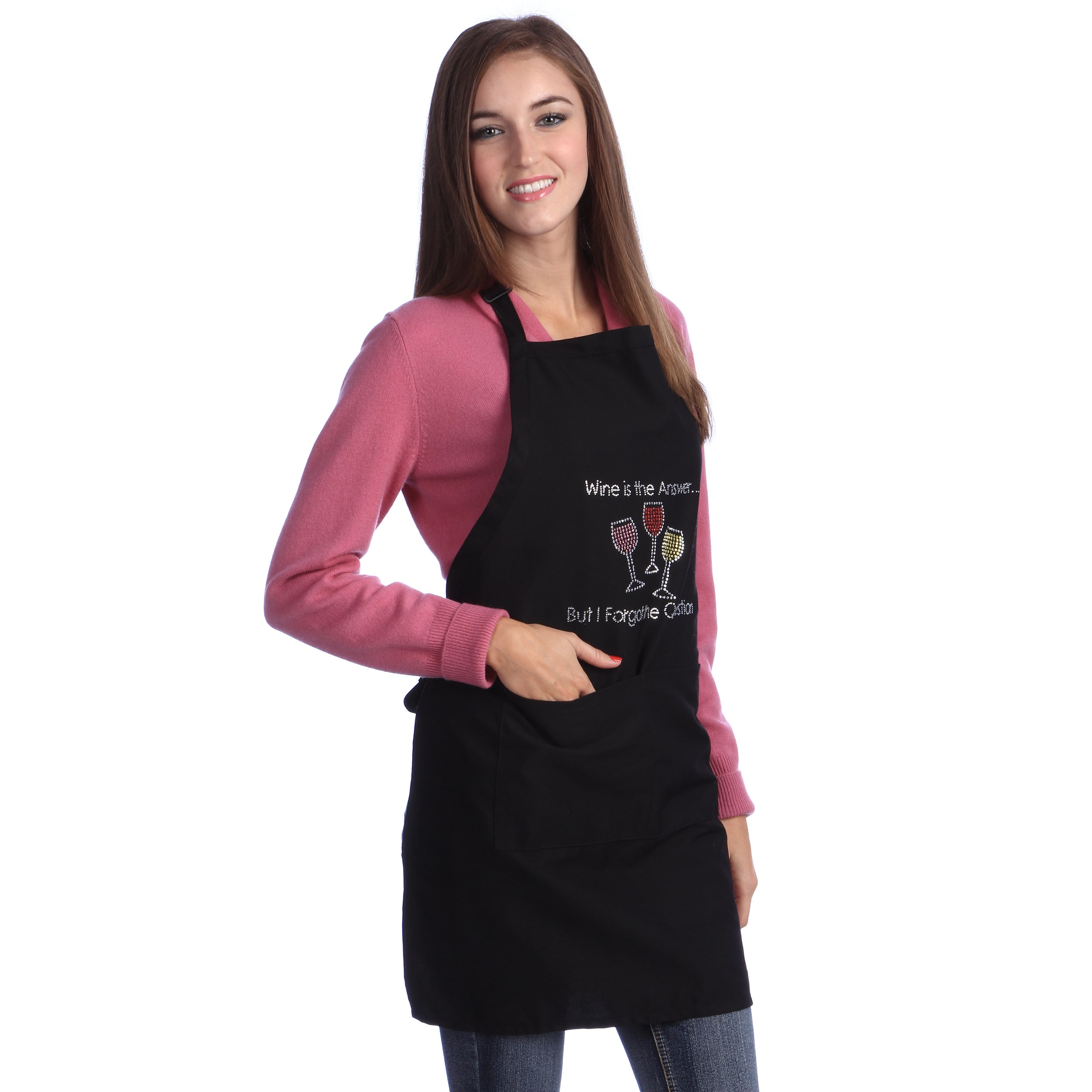 Black two pockets ANY WINE ANY TIME  Apron adjustable neck Kaufman