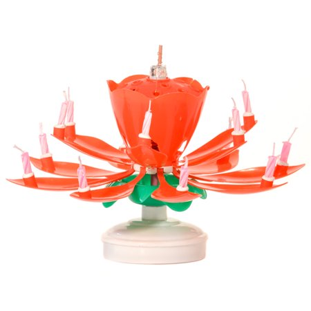 1 Pc Musical Flower Birthday Candles Red
