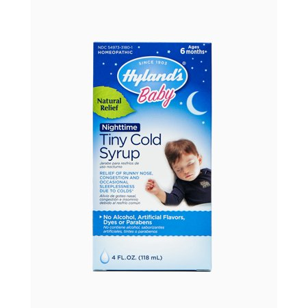 Hyland's Baby Nighttime Cold Syrup, Natural Relief of Runny Nose, Congestion, and Sleeplessness, 4
