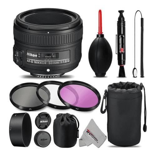Nikon AF-S NIKKOR 50mm f/1.8G Lens For D3000, D3100, D3200, D3300, D5000, D5100, D5200, D5300, D5500, D7000, D7100 Nikon Digital SLR. All Original Accessories Included - International Version