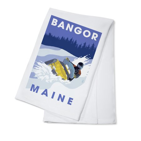 Bangor, Maine - Snowmobile Scene - Lantern Press Artwork (100% Cotton Kitchen Towel)](Party City Bangor Maine)