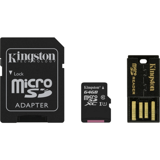 Kingston 64GB Multi Kit with Class 10 microSD Memory Card, SD Adapter and USB Reader for Android