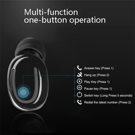 Stereo Wireless Bluetooth Earbud. Sweatproof Headset . Built-in Mic for Android and iPhone Smart Phones.(with Charging Case) - image 4 of 17