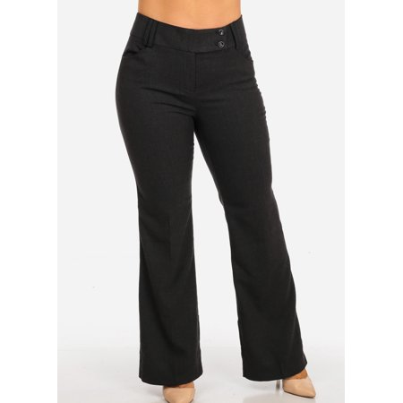 Womens Juniors Women's Plus Size Career Wear High Waisted Charcoal Dress Pants 10540R