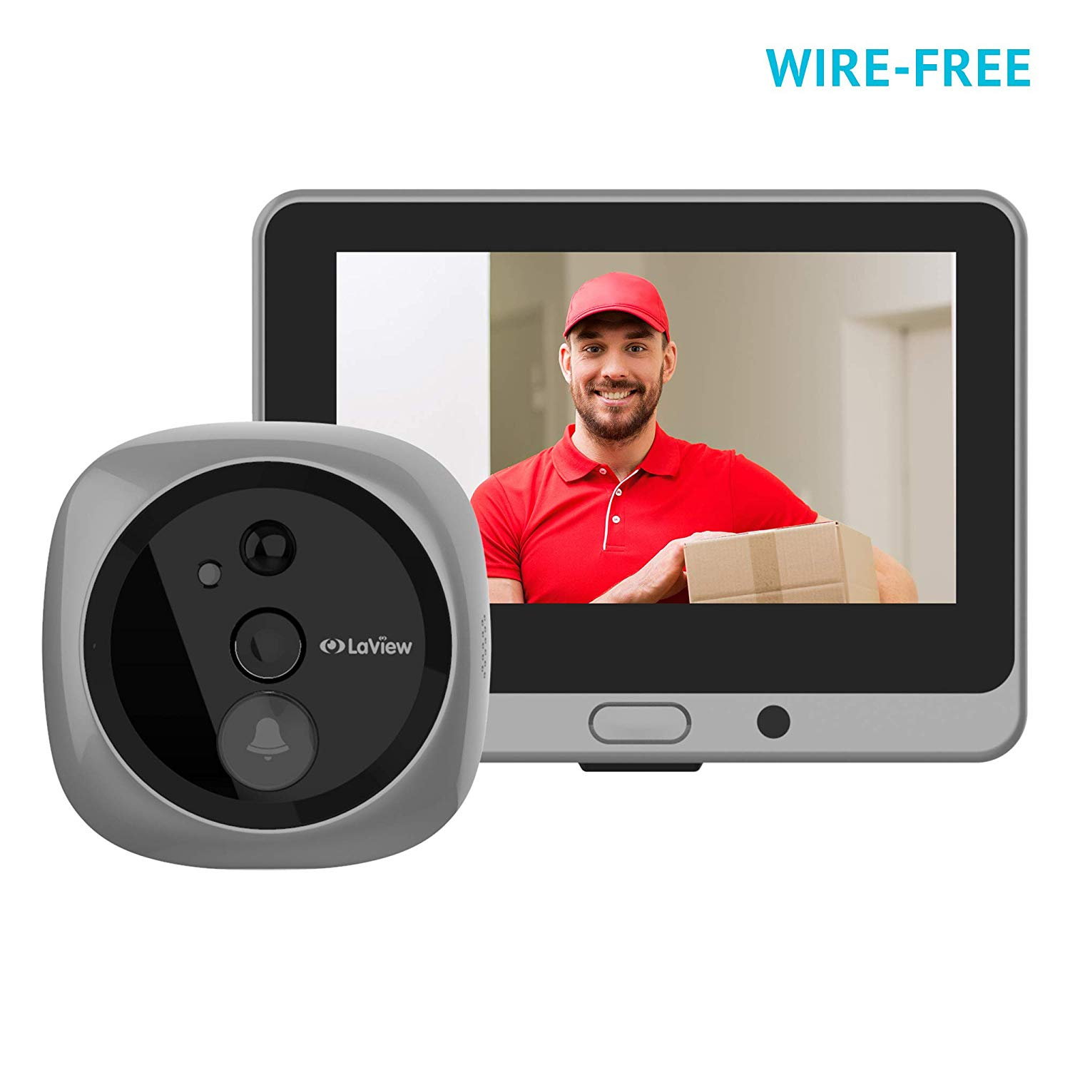 LaView Wireless Video Doorbell, Wi-Fi Door Bell Camera, Peephole Camera with LED Touch Screen, Wide Angle/Wire-Free/Rechargeable Battery/Night Vision/Two-Way Audio/Mobile View/16GB SD Card