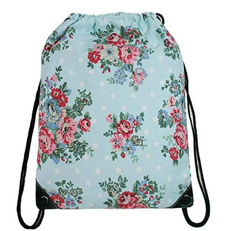 Cotton Canvas Waterproof Printed Drawstring Gym Work Backpack Rucksack (Flowe... (Drawstring Backpacks)