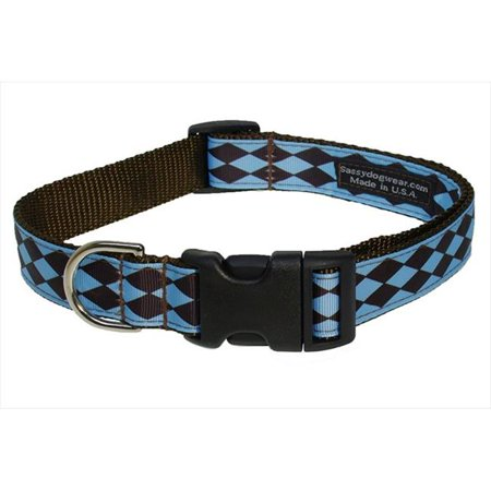 Sassy Dog Wear Jester Petite Blue Choc 3 C Jester Dog Collar  44  Blue   Brown   Medium