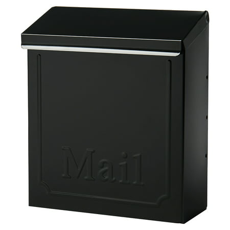 Gibraltar Mailboxes Townhouse Locking Galvanized Steel Black Wall Mount Mailbox, - Wall Mount Mailbox