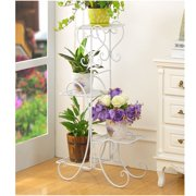 4 Tier/6 Tier Stainless Steel Flower Planter Plant Stand Garden Display Holder Shelf Rack for Home Room Ornaments Indoor Outdoor Patio