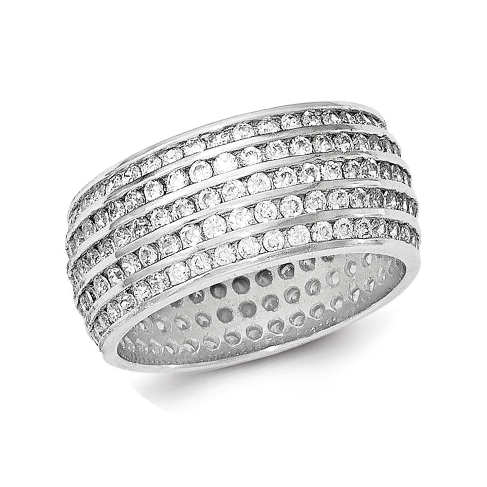 925 Sterling Silver Rhodium-plated Polished 5-row CZ Eternity Band Size 8