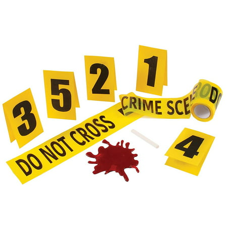 Crime Scene Kit with Blood Splat Halloween Decoration - Modern Family Halloween Scene