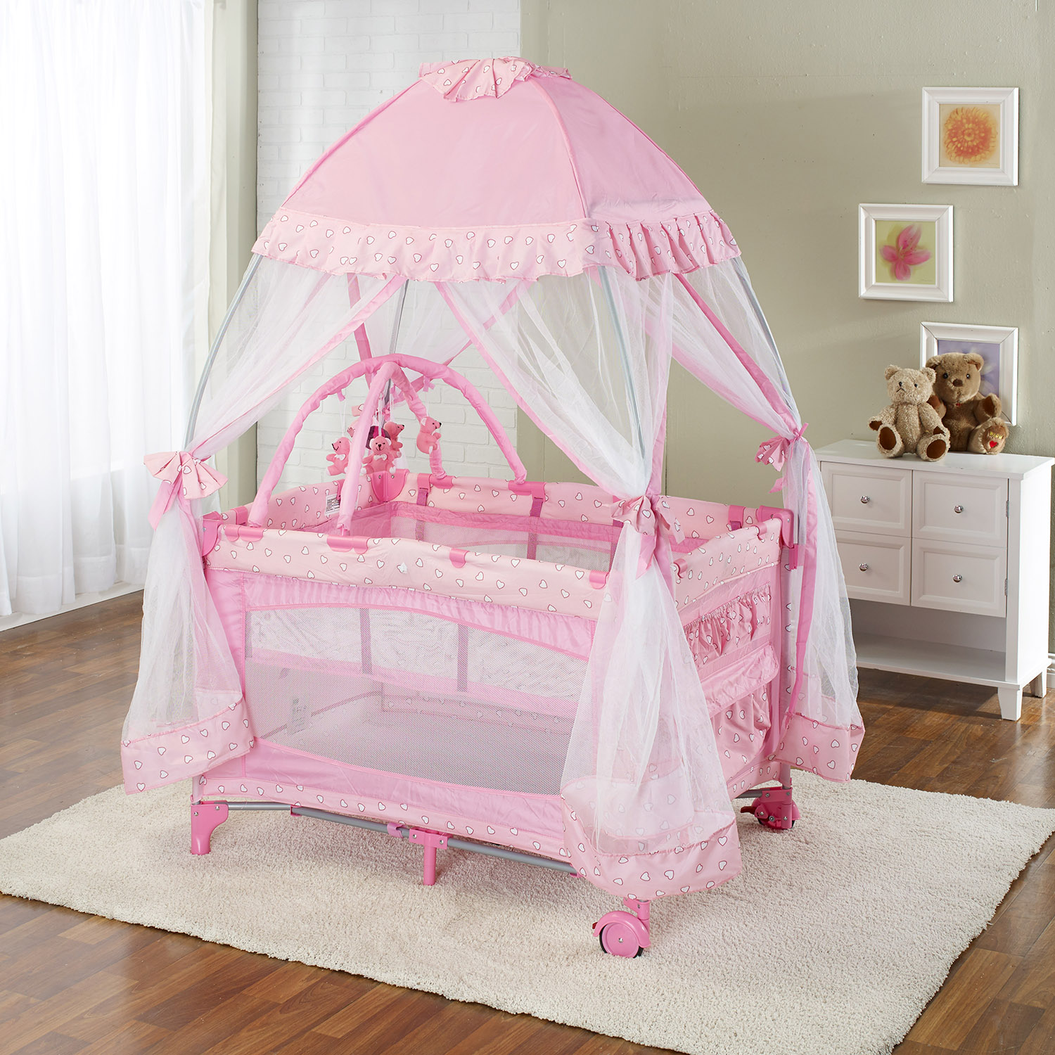 Playard With Moquito Net Pink Walmart Com
