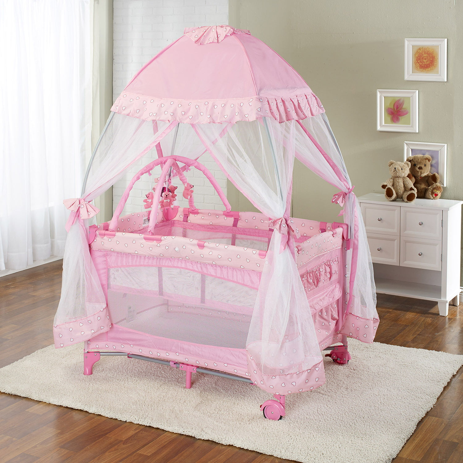 Play Pen with Moquito Net Pink by Big Oshi