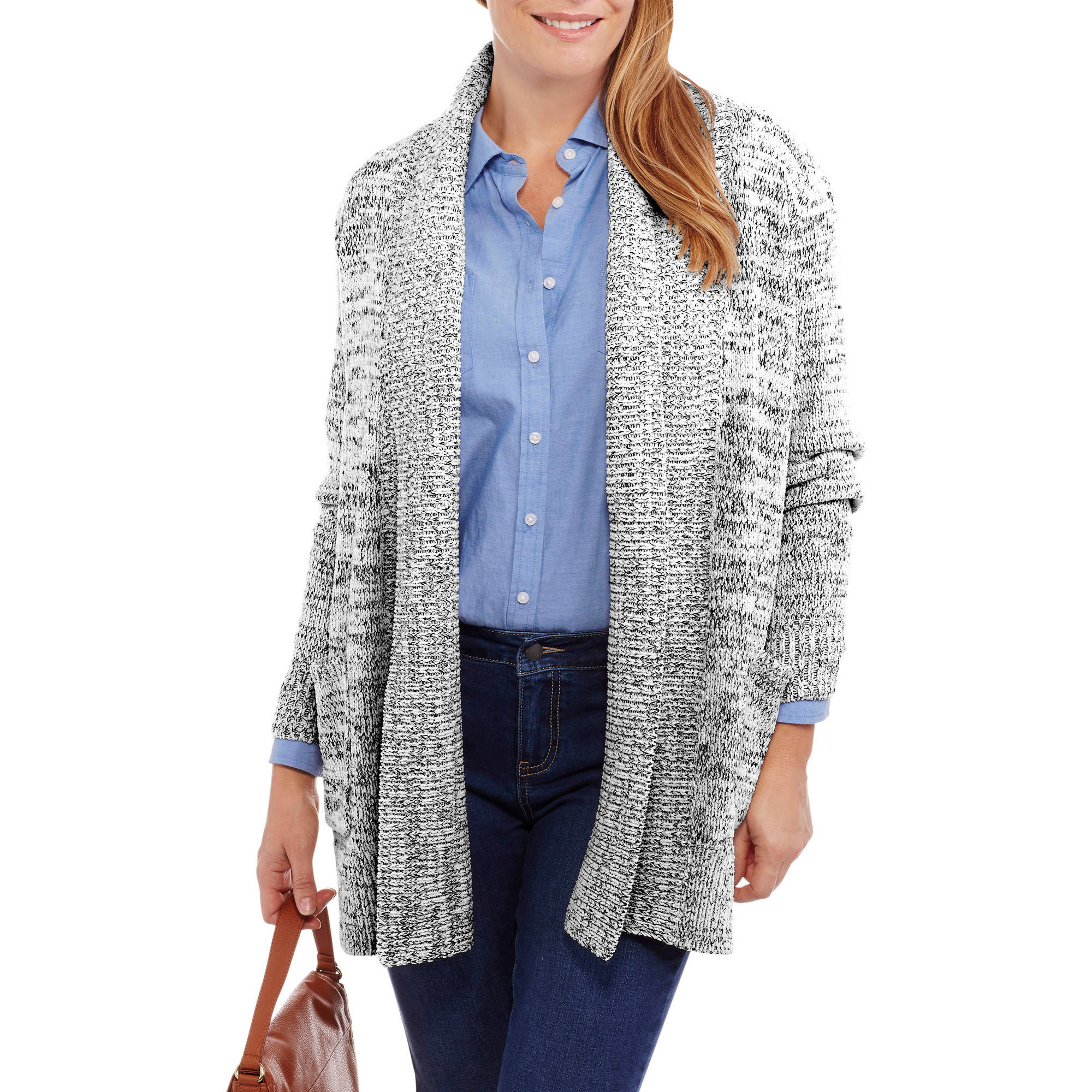 Faded Glory Women's Chenille Shawl Cardigan Sweater