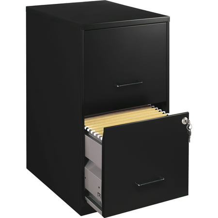 Lorell 2 Drawers Vertical Steel Lockable Filing Cabinet, Black (Mayline Vertical File Cabinet)