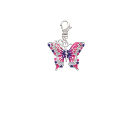 Silvertone Large Hot Pink & Purple Butterfly - 2019 Clip on Charm