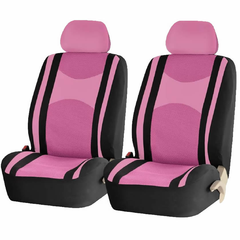 4 Piece Pink & Black Mesh Honeycomb Low back Front Seat Covers Double Stitched Universal Car Truck SUV