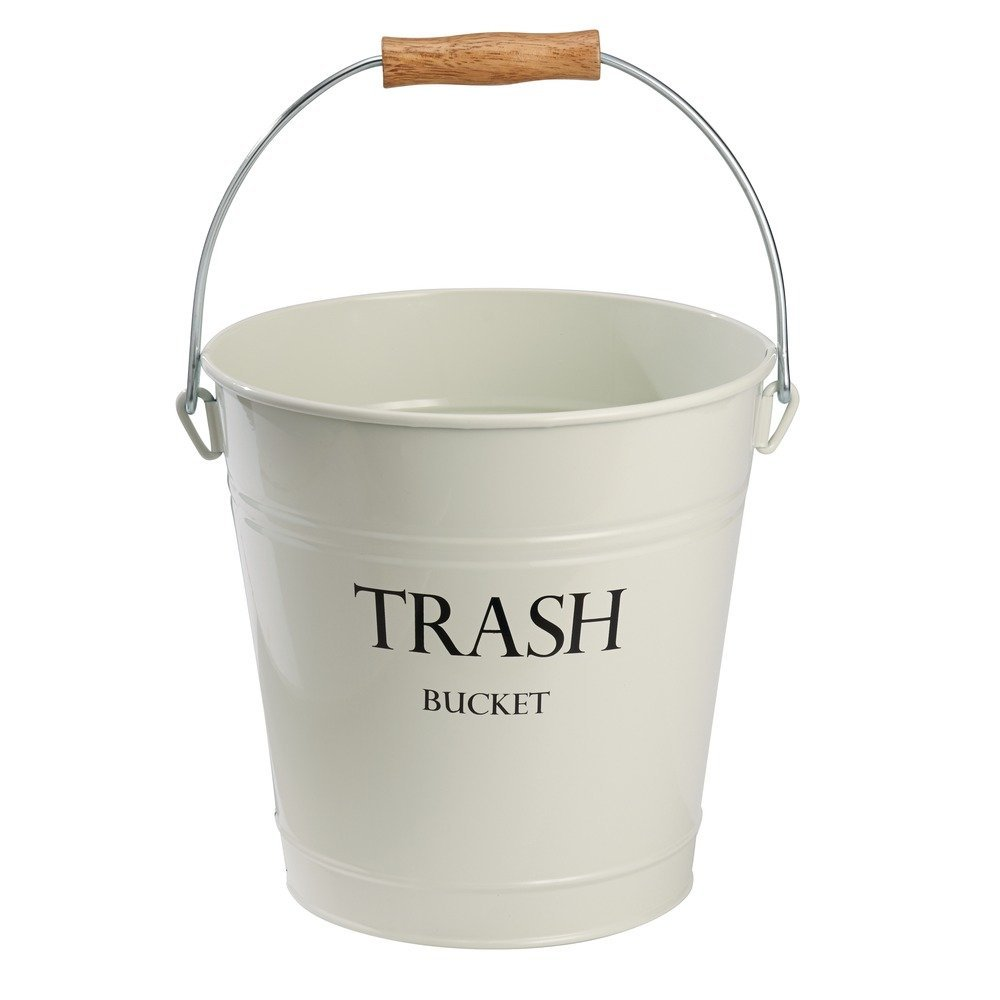 Pail Wastebasket Trash Can Metal Ivory Great For Use In Bathroom Office Bedroom And Den By Interdesign