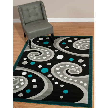 - United Weavers Brasserie Espresso Swirl Aqua Woven Olefin Area Rug or Runner