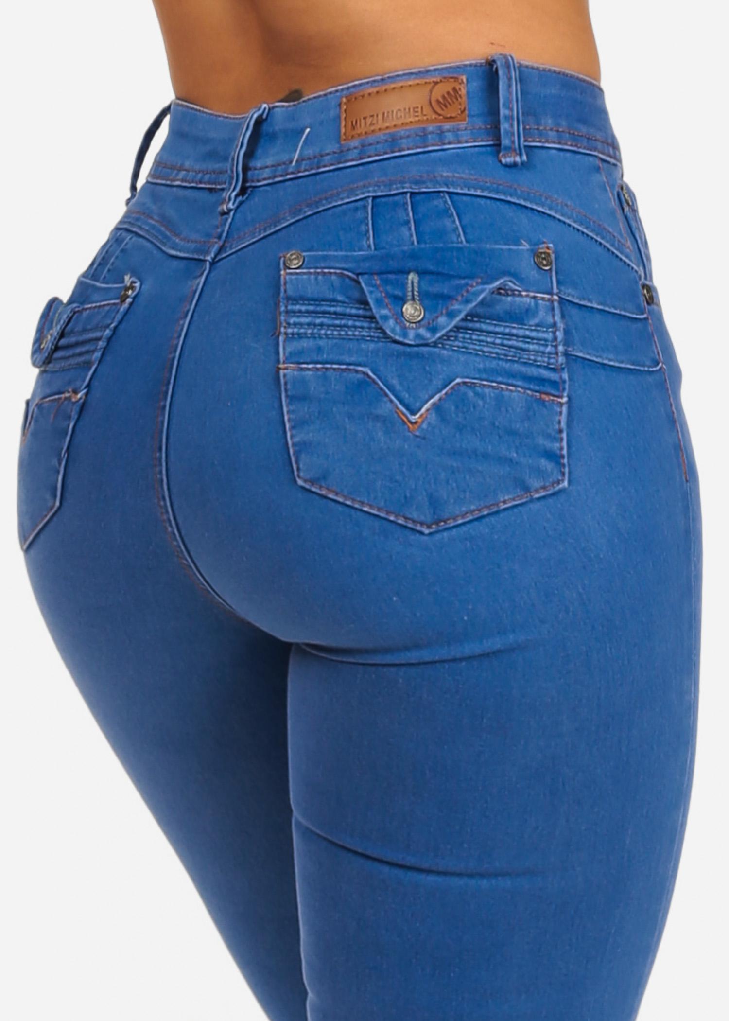 Womens Juniors Light Blue Wash High Waisted Butt Lifting Levanta Cola Push Up Stretchy Skinny Jeans 10245V