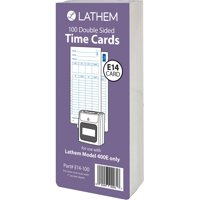 Lathem Model 400E Double Sided Time Cards - Double Sided Sheet - Blue Print Color - 100 / Pack