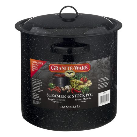 Granite Ware Steamer & Stock Pot 15.5 Quart - 3 PC, 3.0 - 3 Quart Stack