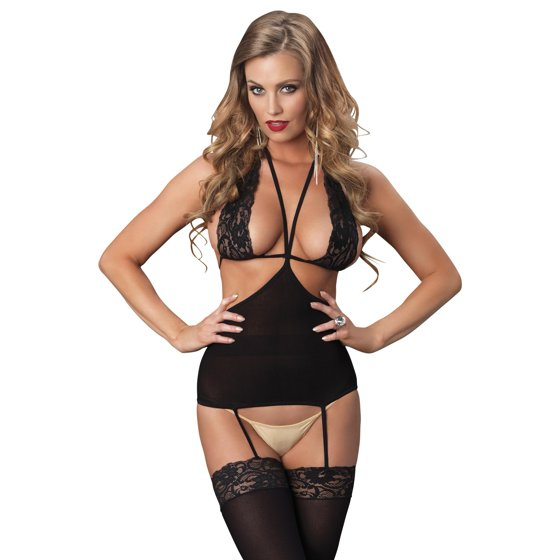252ffa7a33 Leg Avenue - Women s Opaque Cut Out Suspender Bodystocking with Lace ...
