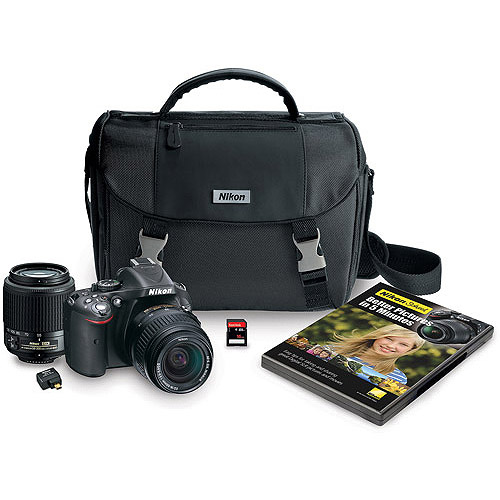 Nikon D5200 Digital SLR Camera with 24.1 Megapixels and 18-55mm and 55-200mm Lenses Included, Black