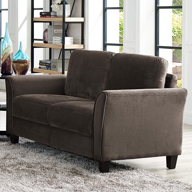 Lifestyle Solutions Alexa 2-Seat Curved Arm Microfiber Loveseat, Coffee
